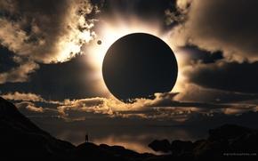 Обои облака, свет, человек, солнечное затмение