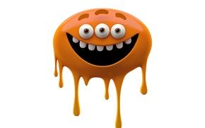 Картинка радость, яркие улыбающийся монстр на белом фоне, монстр оранжевый слизняк