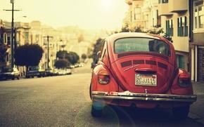 Картинка авто, город, транспорт, улица, volkswagen, vintage, раритет, beetle