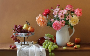 Картинка цветы, бутылка, букет, вино, розы, натюрморт, кувшин, яблоки, виноград