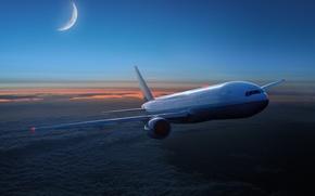 Обои облака, месяц, полёт, самолёт