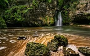 Картинка скала, ручей, камни, водопад, мох, Швейцария, La Tine de Conflens