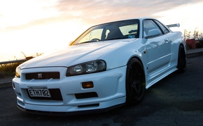 Картинка Nissan, GT-R, White, Skyline, R34