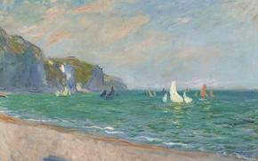 Обои пейзаж, картина, Клод Моне, Парусники на Побережье в Пурвиле