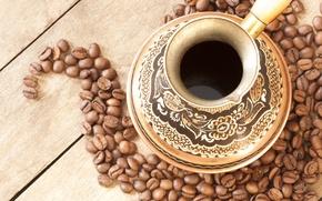 Обои узор, кофе, зёрна, турка