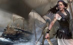 Картинка девушка, корабли, меч, доспехи, паруса, непогода, воины, Rome: Total War