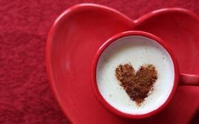 Обои чашка, какао, сердце, молоко, кофе, любовь, coffe, love, heart