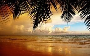 Картинка песок, пляж, небо, облака, пейзаж, закат, природа