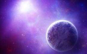 Обои планета, сияние, космос