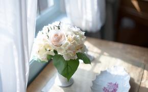 Картинка цветы, стол, букет, ваза