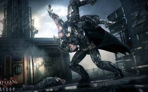 Картинка ночь, город, дождь, луна, бэтмен, костюм, удар, Готем, Batman: Arkham Knight