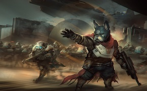 Картинка оружие, фантастика, армия, воин, арт, солдат, бульдог, шлем, броня