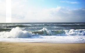 Обои надписи, пена, брызги, море, полоска, dashing, волны, песок, пейзаж