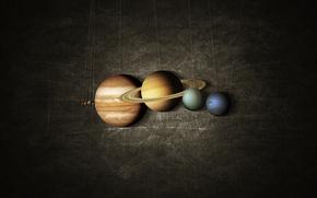 Картинка система, планеты, Марс, Земля, Сатурн, Юпитер, Нептун, Меркурий, Венера, солнечная, Уран, на веревочке, карта