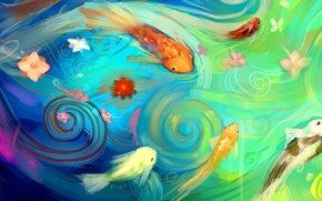 Картинка вода, рыбки, рыбы, цветы, абстракция, арт