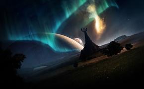 Картинка сияние, фантастика, планеты, северное