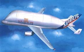 Картинка art, airplane, painting, Airbus Beluga