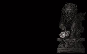 Картинка камень, чёрное, арт, зверь