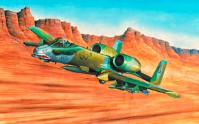 Картинка war, art, airplane, aviation, Fairchild Republic A-10 Thunderbolt II