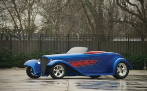 Картинка асфальт, пламя, Ford, Hot Rod, Хот Род, 1932 Форд, Boydster II by Boyd Coddington