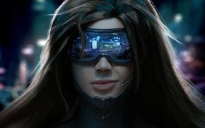 Картинка девушка, лицо, улыбка, волосы, очки, микрофон, Киберпанк