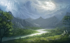 Картинка мост, горы, арт, небо, деревья, облака, река, трава, долина, пейзаж, Bruce Mashbat