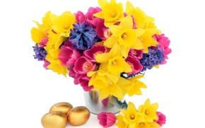 Картинка цветы, корзина, тюльпаны, flowers, tulips, нарциссы, spring, eggs, easter, bouquet, daffodils