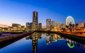 Обои Йокогама, отражение, Япония, канал, колесо обозрения, зеркало, голубое небо, горизонт
