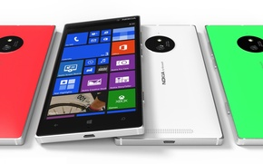 Обои Concept, Red, Green, White, Tesla, Nokia, Lumia, Smartphone, 830, Front Side, Windows Phone 8.1