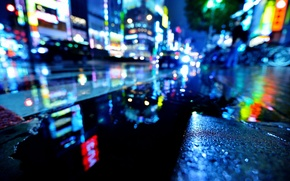 Картинка мокро, вода, ночь, город, огни, дождь, улица, Япония, Токио, лужи, боке, Синдзюку, Hidehiko Sakashita Photography