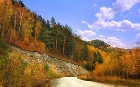 Картинка дорога, небо, деревья, скалы, colors, Осень, road, sky, trees, nature, autumn, fall