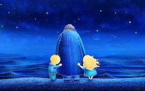 Картинка звезды, ночь, синий, природа, дети, океан, waves, ocean, blue, night, stars, children, draw, illustration