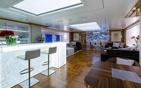 Картинка дизайн, стиль, интерьер, saloon, living area, luxury motor yacht Galaxy