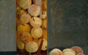 Картинка картина, фрукты, натюрморт, Клод Моне, Банка с Персиками