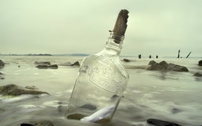 Обои море, бутылка, записка