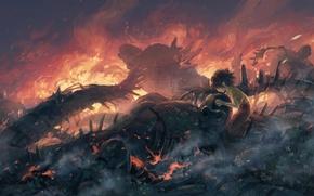 Картинка девочка, пепел, робот, пламя
