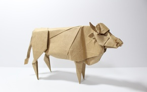 Картинка бумага, корова, оригами