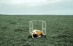 Картинка поле, девушка, ситуация, окно