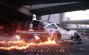 Картинка пламя, серебристый, fire, road, DeLorean, DMC-12, rear, photoshop, Digital art, silvery, делориан, Back to the …