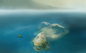 Картинка листья, вода, девушка, лицо, туман, озеро, волосы, лежит, game, слеза, ender's