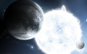 Картинка звезда, спутник, Планета