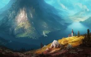 Картинка пейзаж, озеро, красота, арт, живопись