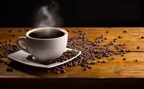 Картинка стол, кофе, чашка, блюдце, зёрна, дымок, напток
