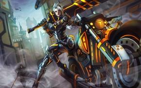 Картинка меч, костюм, мотоцикл, байк, lol, League of Legends, riven