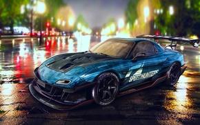 Картинка Mazda, Drift, Car, Blue, RX-7, Speedhunters, Nigth, YASIDdesign