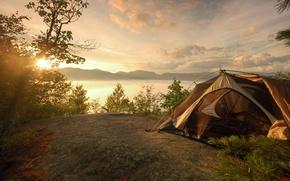Обои палатка, горы, пейзаж, поход