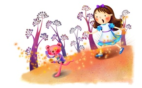 Картинка деревья, фантазия, рисунок, часы, сказка, девочка, зверёк