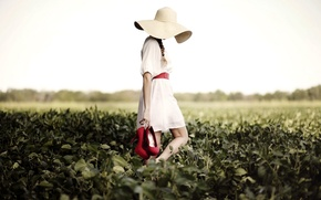 Картинка girl, mood, red shoes, field, summer, hat