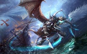 Картинка море, гроза, волны, шторм, молния, крылья, существо, фантастическое, zhu li, полу-ангел, полу-демон