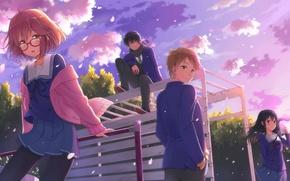 Картинка Аниме, kyoukai no kanata, Хироми Насэ, Мирай Курияма, Акихито Камбара, Мицуки Насэ, игровая площадка.